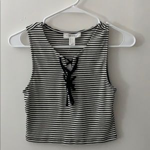 Forever 21 striped sleeveless crop top laced front